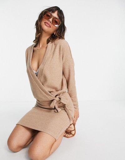 Beige donna Cardigan avvolgente in maglia beige in coordinato - Vila