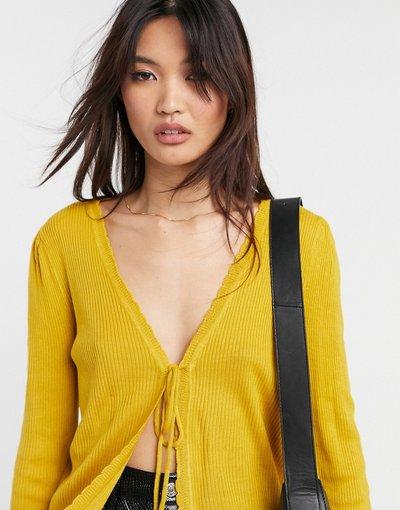 Giallo donna Cardigan in maglia giallo senape con laccetti - Vila