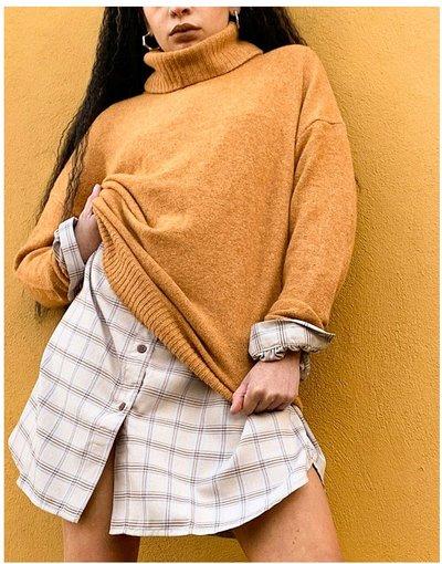 Arancione donna Maglione lavorato arancione accollato - Vila