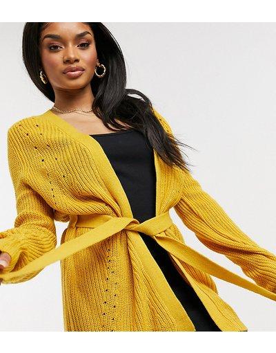 Giallo donna Cardigan in maglia giallo allacciato in vita - Vila Petite