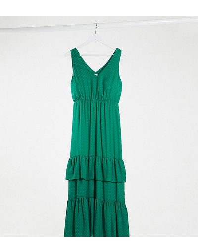 Eleganti pantaloni Verde donna Vestito lungo verde con gonna a balze e pois - Vila Petite