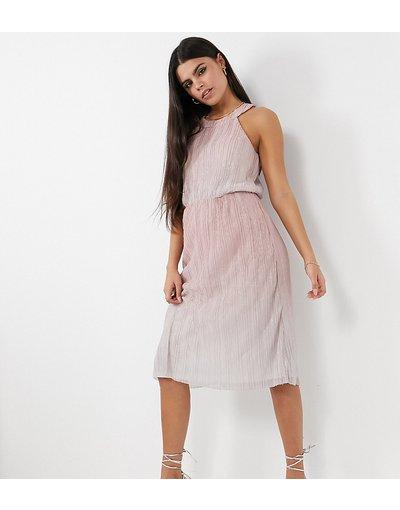 Beige donna Vestito midi con scollo rotondo rosa - Vila Petite - Beige