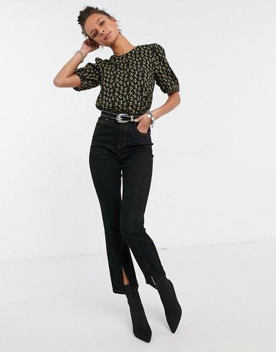 Camicia Multicolore donna Top con maniche a sbuffo nero a fiori - Multicolore - Vila