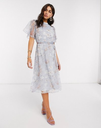 Blu donna Vestito midi in chiffon aperto dietro blu tenue a fiori con maniche svasate - Vila