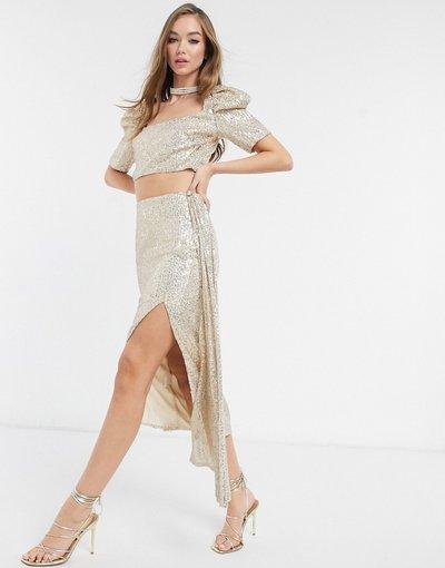 Oro donna Gonna a strati decorata in paillettes oro in coordinato - Virgos Lounge