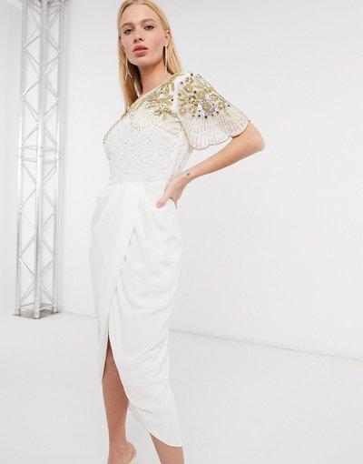 Bianco donna Vestito midi avorio con gonna a portafoglio e decorazioni - Virgos Lounge - Nicola - Bianco