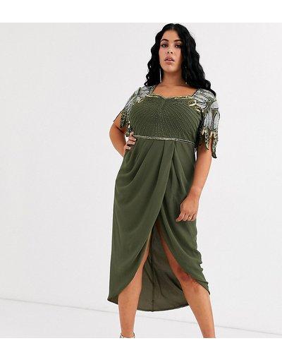 Eleganti con scollo Verde donna Vestito midi kaki con drappeggio sul davanti e spalle decorate - Virgos Lounge Plus - Verde