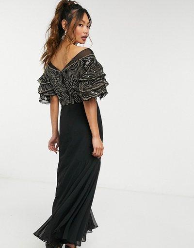 Nero donna Vestito al polpaccio decorato nero e oro - Virgos Lounge