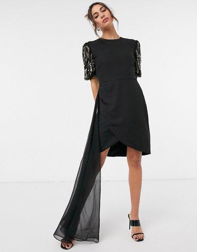 Nero donna Vestito corto con strascico in tessuto a rete e maniche decorate nero e oro - Virgos Lounge