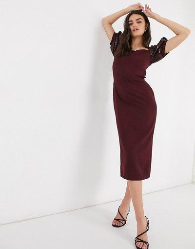 Rosso donna Vestito longuette decorato color vinaccia - Virgos Lounge - Rosso