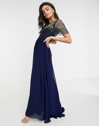 Blu navy donna Vestito lungo decorato blu navy - Virgos Lounge