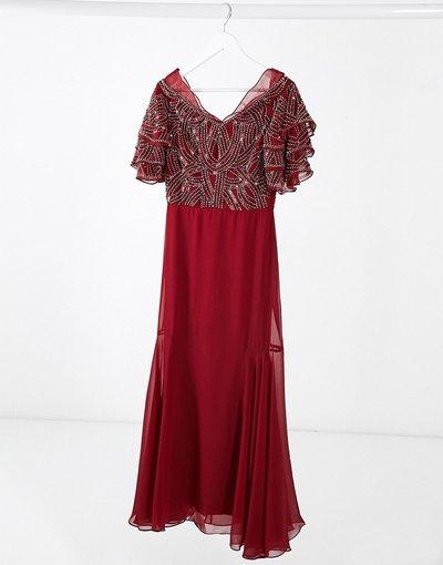 Rosso donna Vestito lungo decorato rosso - Virgos Lounge