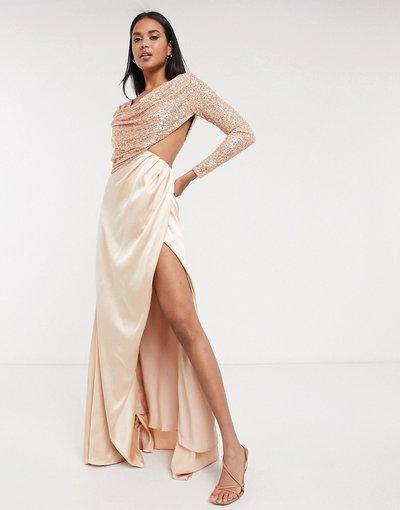 Oro donna Vestito lungo oro rosa con gonna a portafoglio e corpino drappeggiato decorato - Virgos Lounge