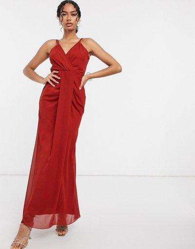 Rosso donna Vestito lungo rosso con spalline - Virgos Lounge