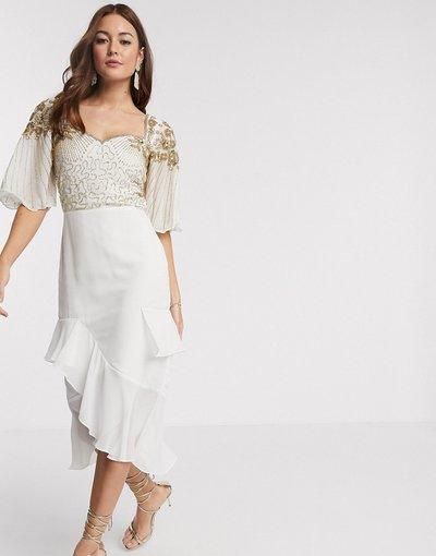 Crema donna Vestito midi decorato con maniche e gonna con volant color avorio - Virgos Lounge - Crema