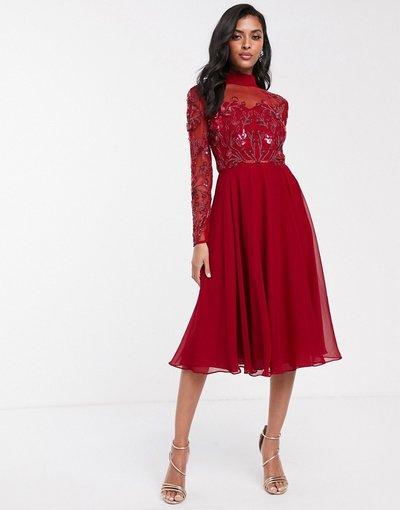 Rosso donna Vestito skater a maniche lunghe rosso con dettagli a rete - Virgos Lounge