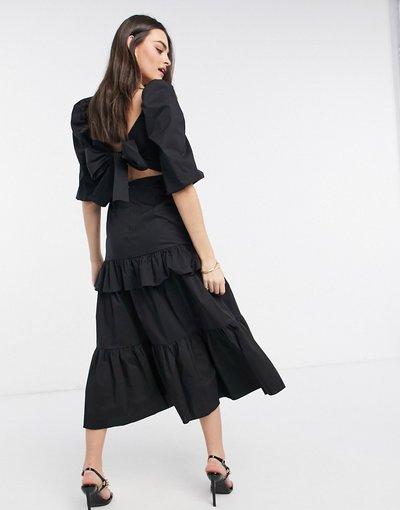 Nero donna Vestito midi a balze con volant, maniche a sbuffo e fiocco allacciato sul retro, colore nero - VL The Label