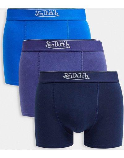 Calze Blu uomo Confezione risparmio da 3 boxer aderenti - Von Dutch - Blu