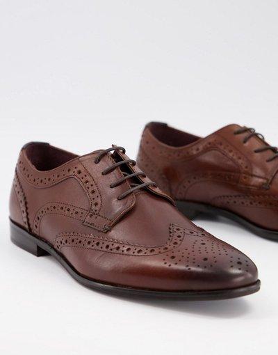 Scarpa elegante Marrone uomo Scarpe brogue in pelle marrone - WALK LONDON - Alfie