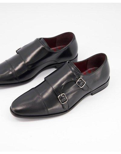Scarpa elegante Nero uomo Scarpe in pelle nera con fibbia - WALK London - Alfie - Nero