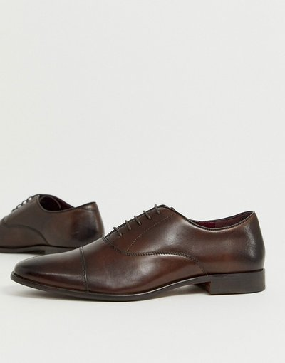 Scarpa elegante Marrone uomo Scarpe Oxford a punta in pelle marrone - Walk London - Alfie moda abbigliamento
