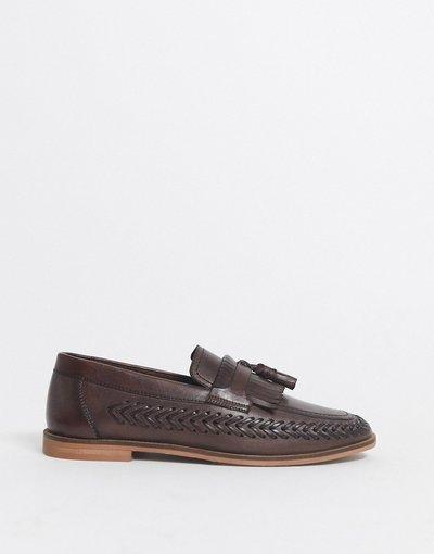 Scarpa elegante Marrone uomo Mocassini intrecciati in pelle marrone - Walk London - Arrow