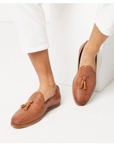 Scarpa elegante Cuoio uomo Mocassini in pelle intrecciata con nappe cuoio - Walk London - Chris