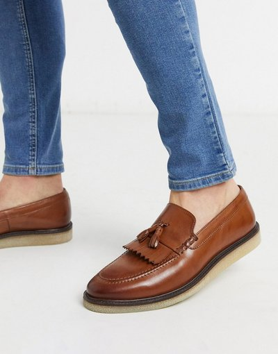 Scarpa elegante Marrone uomo Mocassini marroni con frange e tasselli - Walk London - Marrone - Dell