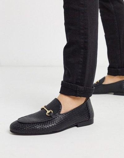 Scarpa elegante Nero uomo Mocassini intrecciati in pelle neri - Walk London - Jacob - Nero