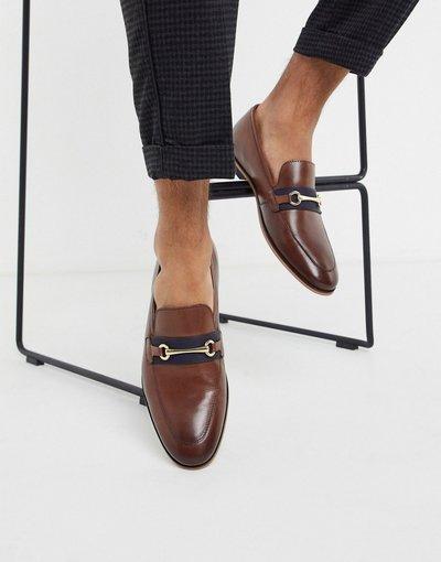 Scarpa elegante Marrone uomo Mocassini con barretta in pelle marrone - Walk London - Rafael