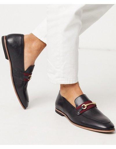 Scarpa elegante Nero uomo Mocassini con barretta in pelle neri - Walk London - Rafael - Nero