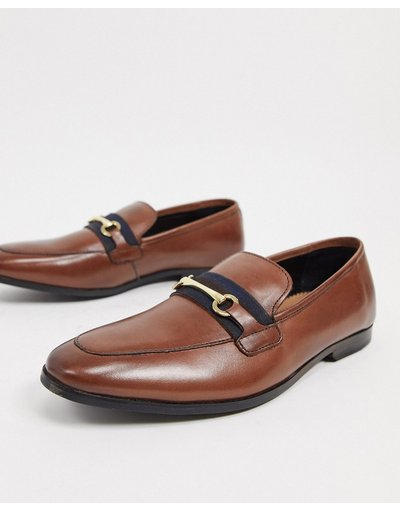 Scarpa elegante Marrone uomo Mocassini in pelle marrone con morsetto - WALK London - Raphael