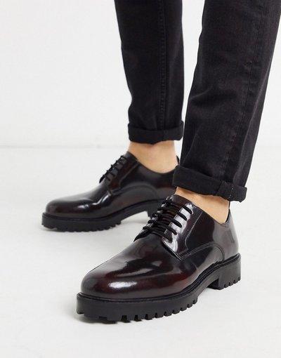 Scarpa elegante Rosso uomo Scarpe brogue derby bordeaux lucido - Walk London - Sean - Rosso