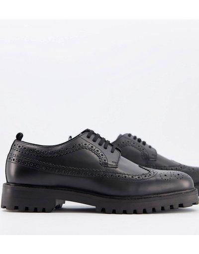 Scarpa elegante Nero uomo Scarpe brogue nero lucido - Walk London - Sean