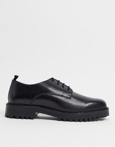 Scarpa elegante Nero uomo Scarpe Derby stringate in pelle nera - Walk London - Sean - Nero
