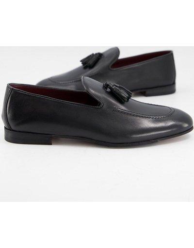 Scarpa elegante Nero uomo Mocassini con nappe in pelle nera - Walk London - Terry - Nero