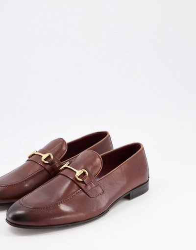 Scarpa elegante Marrone uomo Mocassini in pelle marrone con barretta - Walk London - Terry
