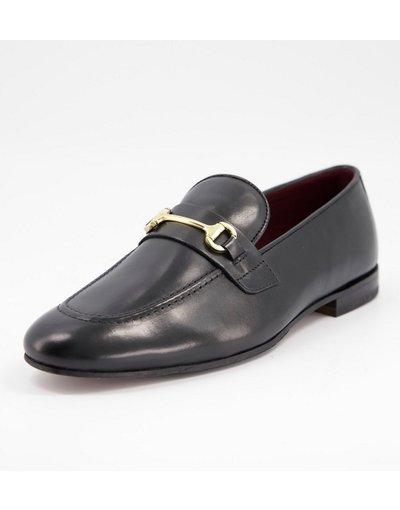 Scarpa elegante Nero uomo Mocassini in pelle nera con barretta - Walk London - Terry - Nero