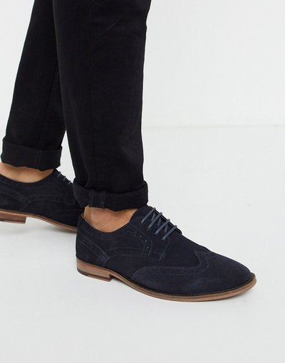 Scarpa elegante Navy uomo Scarbe brogue blu navy scamosciate - Walk London - Tribute