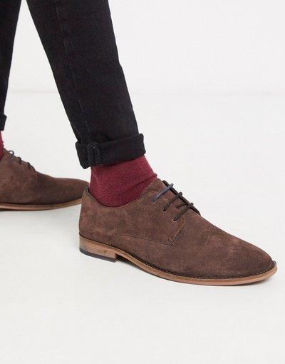 Scarpa elegante Marrone uomo Scarpe derby brogue in camoscio marrone - Walk London - Tribute