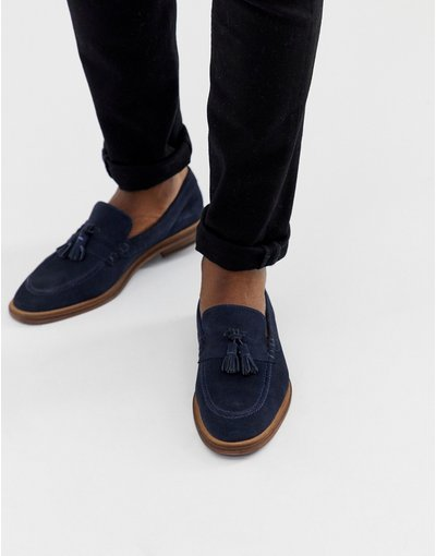 Stivali Navy uomo Mocassini blu navy scamosciati - WALK London - West