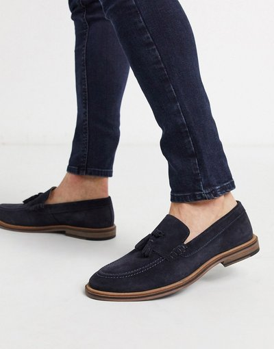 Scarpa elegante Navy uomo Mocassini con nappe blu navy scamosciati - Walk London - West