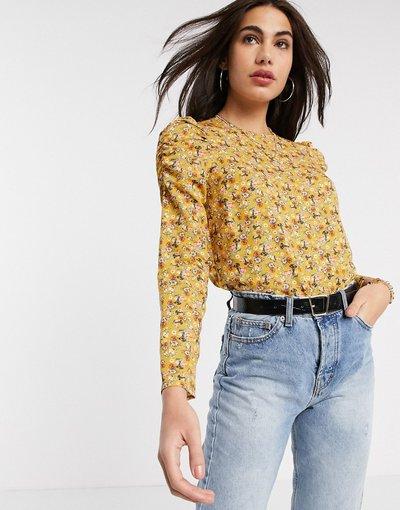 Camicia Giallo donna Blusa gialla a fiorellini con volant sul davanti - Warehouse - Giallo