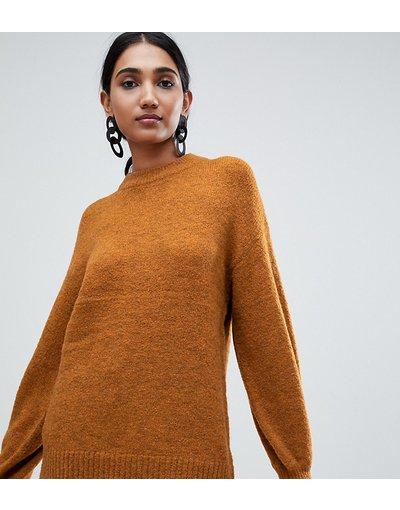 Arancione donna Maglione premium in misto lana ocra con maniche a campana - Warehouse - Arancione