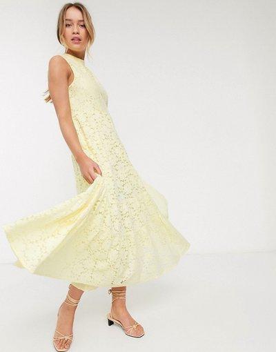 Eleganti pantaloni Giallo donna Vestito lungo svasato senza maniche in pizzo giallo - Warehouse