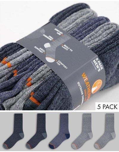 Intimo Blu navy uomo Confezione da cinque paia di calzini al polpaccio in spugna colore blu/nero/grigio - Weatherproof - Blu navy