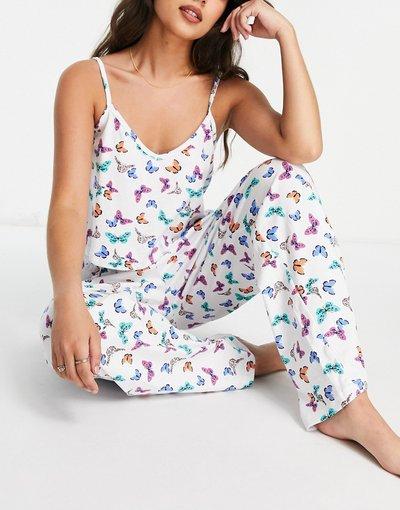 Pigiami Bianco donna Pigiama composto da canottiera e pantaloni con stampa di farfalle - Wednesday's Girl - Bianco