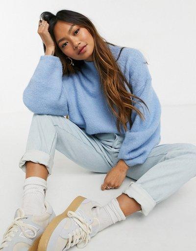 Blu donna Maglione accollato oversize azzurro - Weekday - Aino - Blu