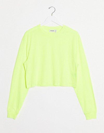 T-shirt Giallo donna Maglietta squadrata a maniche lunghe giallo acido - Weekday - Ally