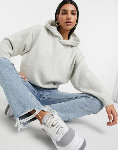 Bianco donna Felpa con cappuccio in maglia bianco sporco - Weekday - Ambra